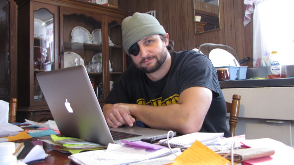 "Hacking away at my book ""Kissed by the Taliban."" January 2014"